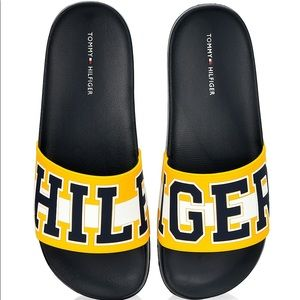 Tommy Hilfiger Destyn Yellow Sky Slides Size 8 NEW